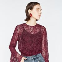 DAZZLE地素 18秋专柜新款 性感蕾丝喇叭袖衬衫小上衣 2F3D5137K