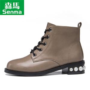 森马2017短靴秋冬季新款圆头中跟粗跟靴子女靴短筒马丁靴女鞋子
