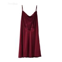 家居服性感睡衣细肩带红色无袖女士露背A字睡裙