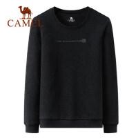 camel驼男装秋季新款韩版纯色宽松圆领长袖T恤潮流套头卫衣男