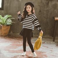 女童秋冬装套装2018新款时尚洋气韩版卫衣大儿童两件套裙加绒加厚 黑色 条纹