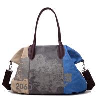 女包复古女士帆布包撞色印花休闲单肩包手提大包旅行挎包