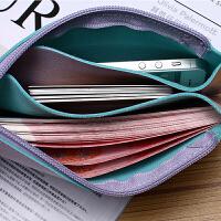 欧美钱包女超薄长款亮片百搭拉链手机包零钱包袋手包手拿包小方包 粉色送粉色 双层手腕带