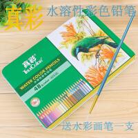真彩水溶性彩色铅笔铁盒装48色水溶彩铅美术彩笔绘画4576-48色