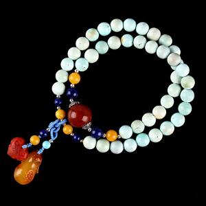 原矿高瓷绿松石圆珠DIY手串 配南红圆珠 重量22.05g