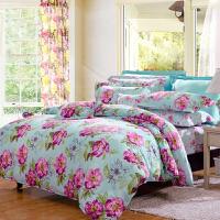 富安娜家纺 床上四件套纯棉床单四件套 床品件套 烟雨怡花 1.8米床