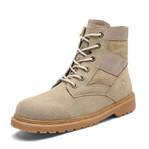 冬季中帮马丁靴男潮短靴高帮男靴子雪地靴皮靴沙漠靴加绒保暖棉鞋