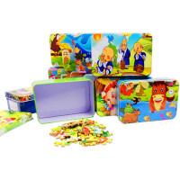铁盒拼图60片儿童玩具宝宝益智男女孩木质3-5-6-7-8岁拼图儿童4岁