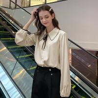 MG小象法式宽松衬衫女2019新款复古港味设计感小众轻熟长袖衬衣