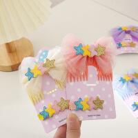 新款发梳雪纺蝴蝶结头饰粉色韩国儿童雪纺五角星梳子夹子可爱发夹