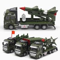 合金回力军事运输车导弹车火箭炮发射车战车男孩儿童玩具汽车模型