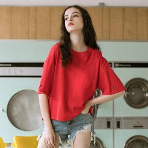 PASS2018新款夏装后背开叉短袖女学生宽松ulzzang红色t恤上衣潮