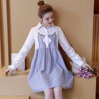 孕妇连衣裙长袖韩版中长款春秋装2018新款时尚可爱显瘦孕妇上衣女