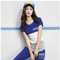 衣服两件套女时尚韩版潮休闲运动套装新款宽松短袖七分裤
