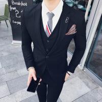 新款西装男英伦风韩版修身套装商务休闲结婚西服礼服小码男装潮 +马甲送领带