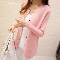 春季韩版新款百搭显瘦纯色暗扣针织衫女开衫毛衣外套潮 粉红色 L