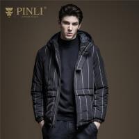 PINLI品立2019冬季新款男装修身连帽条纹休闲棉衣外套B194205194