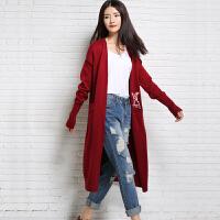 2018春季新款女士中长款纯羊绒衫针织开衫宽松无扣针织外套