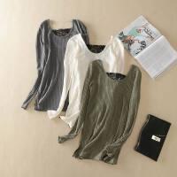 低圆领蕾丝拼接针织衫女秋冬新款打底衫修身显瘦毛衣时尚