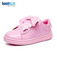 【限时抢:49元】天美意(TEENMIX)童鞋女童运动鞋儿童舒适透气休闲鞋蝴蝶结系带平底鞋DX0248