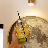 公鸡杯创意小清新仙人掌造型吸管玻璃水杯夏季家用果汁冷饮梅森公鸡杯子