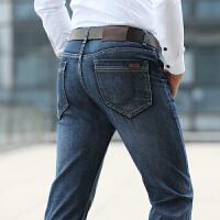 908春夏新款吉普JEEP直筒中腰弹力男士牛仔裤 商务休闲大码青年牛仔长裤 直筒裤 蓝色