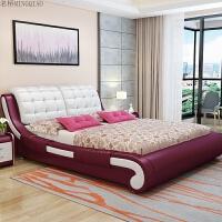床主卧软体双人床1.8m现代简约头层牛皮榻榻米床欧式储物家具 +9分区薰衣草乳胶垫