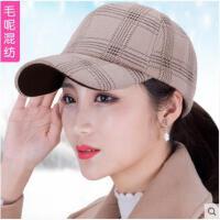 棒球帽冬季韩版潮流毛呢棒球帽女士休闲鸭舌帽时尚百搭太阳帽子