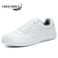 鳄鱼恤休闲鞋系带板鞋时尚小白鞋低帮鞋舒适男鞋