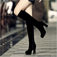 2018春秋季新款粗跟长筒靴子女士过膝中筒磨砂中年冬季高筒高跟鞋 黑色 秋季薄款