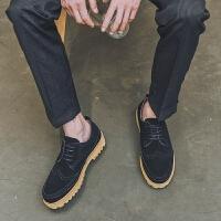 DAZED CONFUSED 潮牌男士休闲鞋复古潮鞋休闲皮鞋英伦反绒皮板鞋系带布洛克男鞋子