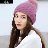 毛线帽子女冬天时尚韩版保暖针织帽潮套头长辫子护耳瘦脸雷锋帽