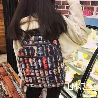 拉面丸子韩版原宿卡通撞色印花涂鸦男女双肩包学院风书包旅行背包
