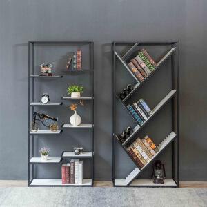 幸阁 铁艺实木多层实木书架展示架 书架置物架仿古做旧壁挂柜