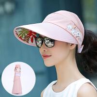 太阳帽女夏季遮阳帽出游百搭防晒帽子遮脸防紫线大沿骑车空顶帽女