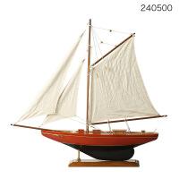 帆船装饰摆件大号美国木质帆船模型桌面摆件橱窗装饰摆件简单手工组装一帆风顺Q