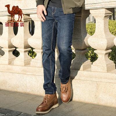骆驼男装 秋季新款潮流青年中腰直筒蓝色牛仔裤 男士休闲长裤