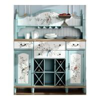 梵高乡村家具复古彩绘美式餐边柜实木储物柜子厨房橱柜碗柜酒柜 双门