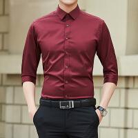 七分袖衬衫男士韩版修身弹力衬衣商务休闲短袖寸衫