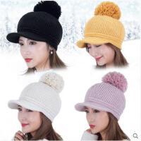 毛线帽女冬啊潮针织帽韩版百搭韩国加绒大毛球冬季时尚贝雷帽
