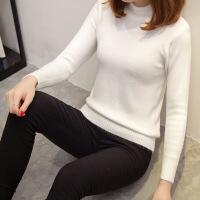 秋装新款半高领针织打底衫纯色简约修身短款毛衣内搭女