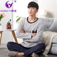香港康谊春秋季新款男款睡衣纯棉圆领长袖常规男士全棉家居服套装