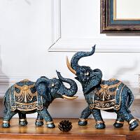 家居饰品客厅酒柜摆件装饰品大象欧式摆设书柜办公室装饰风水象 大象摆件【一对】