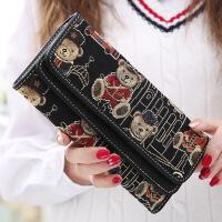春季新款长款钱包女小熊时尚可爱双搭扣多卡位手拿包