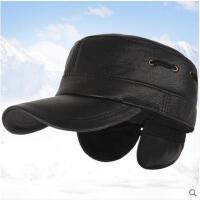 男士棒球帽冬天中老年人平顶帽牛皮保暖棉帽羊皮护耳帽
