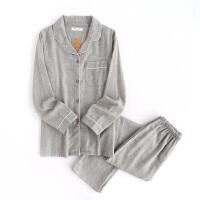 日系情侣睡衣长袖纯棉春秋季薄款全棉睡衣女款夏季男士家居服套装