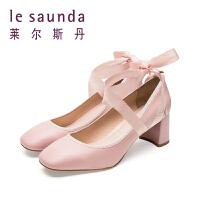 惠莱尔斯丹 春新款方头粗跟高跟绑带伴娘鞋女单鞋9M62801