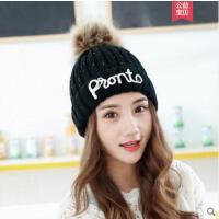 休闲女帽子新款潮韩版时尚字母甜美可爱百搭针织帽毛线帽