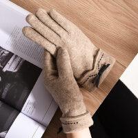 手套女士秋冬季保暖羊毛可爱学生冬天加绒加厚骑行开车触摸屏手套