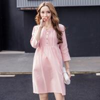 孕妇连衣裙夏装2018新款时尚款潮妈韩版宽松中长款上衣春装孕妇装 粉红色